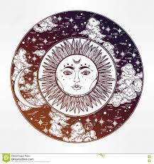 Dessin Rond D Un Ciel Nocturne Avec Le Soleil Lune L Int Rieur