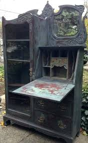 country secretary desk antique with hutch reserved glass door painted french deluxe