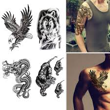 Large Temporary Tattoos Waterproof Fake Tattoo Realistic Eagle Wolf Tiger Dragon Animal Shaped Body