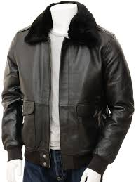 mens leather flight jacket in black bolberry front