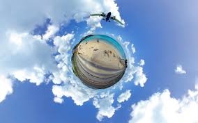 sunlight street light water reflection sky clouds beach airplane surreal blue panoramic sphere cloud lighting 2560x1600