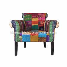 Living Room Arm Chairs Living Room Furniture Silk Fabric Patch Work Indian Design Arm