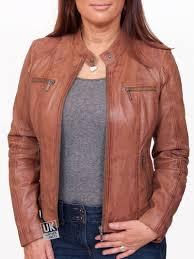 womens vintage tan leather jacket jasmine plus size front