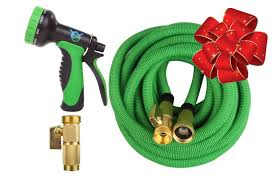 expandable garden hose 50 ft best flexible expanding water hose 10 function spray nozzle set solid brass fittings triple latex pipe strongest green