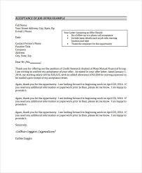 Accepting Offer Letter Job Offer Acceptance Letter 8 Free Pdf Documents Download