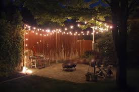 Decorations:Small Patio With Wooden Fence And Rustic Garden Fence Also String  Light Decoration Idea