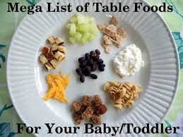 table foods for your baby or toddler