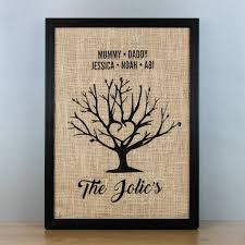 personalised family tree hessian framed art print on personalised wall art family tree with personalised family tree hessian framed art print by able labels