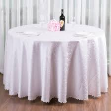 gorgeous wedding decoration jacquard embroidery white round table cloth satin covers vintage large size bridal table
