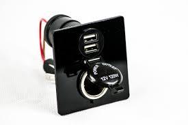 12v dual usb black power panel 12v socket