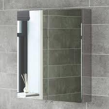 Bathroom Mirror Storage Homcom Stainless Steel Wall Mounted Bathroom Mirror Storage