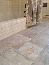 bathroom tiles floor. Farmhouse-bathroom-design-with-natural-ceramic-floor-and- Bathroom Tiles Floor