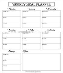 Blank Meal Planner Template Free Editable Meal Planner