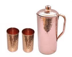 stylist copper pitcher water hammered jug 2 glasses set indian ayurveda