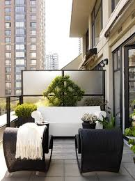 Furniture for condo White Black White Condo Balcony Builderbasic Condo Divider Calls For Some Greenery Trellis Acts As Focal Point Above This Philippe Starck Bubble Modgsi 28 Small Patios Porches Balconies