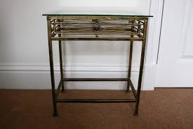 art deco style metal side coffee table with glass top