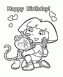Dora Cartoon Happy Birthday Coloring Page For Kids Holiday Coloring