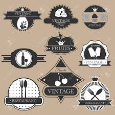 Vintage Food Labels Vintage Food Labels Silhouette Set Royalty Free Cliparts Vectors