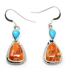 amazon navajo silver turquoise orange spiny oyster dangle earrings 1 x 1 2 hanging length 1 1 2 jewelry