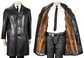 stylish leather coat fur lining made of genuine bison fur like mink removable