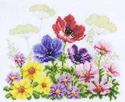Vervaco Cross Stitch Charts Flower Field With Poppies 14 Count Aida