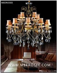 Großhandel Heiss Große Kristall Kronleuchter Leuchte Antik Messing Große Lüster Kronleuchter Lampe Mit Lampenschirm Md8504 L15 Von Meerosee20