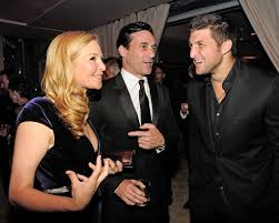 jets quarterback tim tebow is sought for the red carpet the new tim tebow right jennifer westfeldt and jon hamm at a vanity fair party credit kevin mazur vf12 via wireimage