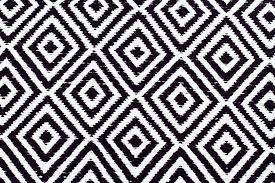 black white rug and check runner diamond cotton