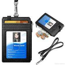 leather id badge card holder wallet with 5 card slots rfid blocking pocket neck lanyard strap for offices id school uk 2019 from fashioncorp