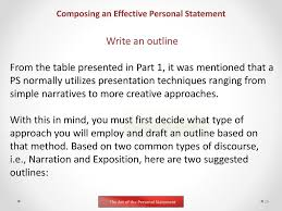 Personal Statement Outline The Art Of The Personal Statement A Presentation By Kenneth Joe