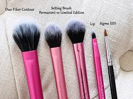 real techniques brush set. real techniques dup-fiber contour brush vs setting comparison review limited edition set