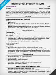 Resume Ideas For Highschool Students How To Write A Resume For