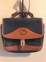 dooney bourke navy all weather leather vintage carrier shoulder bag