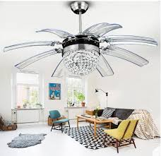 details about 42 crystal ceiling fan light 8 retractable take off acrylic blades chandelier