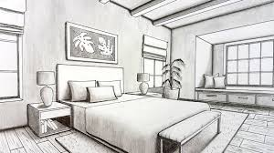 Bedroom Interior Design Drawing Drawing A Bedroom In Two Point Perspective Timelapse