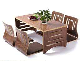 folding dining table and chairs set modern style chair floor low solid wood legs room in