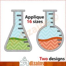 Science Embroidery Designs Beaker Applique Design Set Machine Embroidery Design