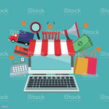 Renk Arka Plan Ile Dizüstü Bilgisayar Mağazası Ile Tente Ve Öğeleri  Simgeleri Online Alışveriş Stok Vektör Sanatı & Alışveriş'nin Daha Fazla  Görseli - iStock
