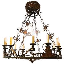 viyet designer furniture lighting vintage monumental spanish style wrought iron 12 light chandelier
