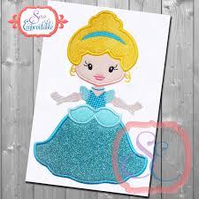 Cinderella Applique Design Little Princess 2 Applique Design For Machine Embroidery