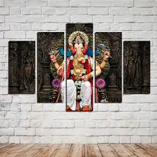 Small Picture Aliexpresscom Buy Unframe India Ganesha 5 Panels High Quality