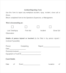 Injury Incident Report Template