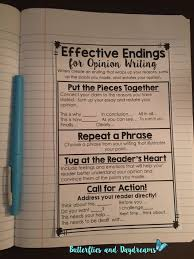 best writing notebook ideas writers workshop  effective endings for opinion writing notebook anchor chart part of opinion writing unit my opinion