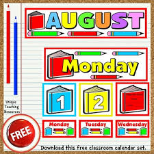 Free Printable Charts For Classroom Free Printable August Classroom Calendar For School Teachers