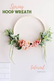blush and green spring fl hoop wreath on wall