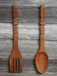 retro kitchen wall art big carved wooden forks spoons 60s 70s vintage tiki wood