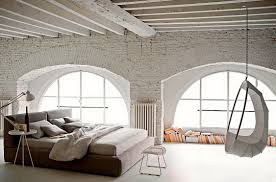 brick bedroom furniture. Spacious Industrial Bedroom Design Ideas With White Brick Walls And Unique Decor Also Fabric Platform Swing Furniture