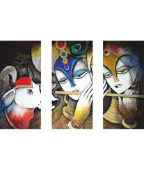 Anwesha's Radha Krishna 3 Frame Split Effect Digitally Printed Canvas Wall  Painting ...