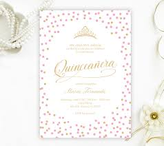 Quincenera Invitations Pink And Gold Quinceanera Invitations