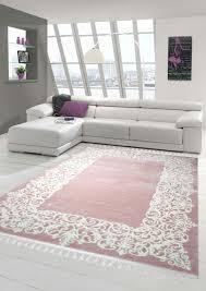 designer rug contemporary rug wool rug border design with fringe living room carpet pink cream